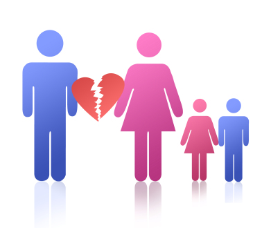 clipart of male image separated by broken heart from female image with a girl and boy image next to her