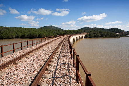 Railway line Cordoba   Almorchon bridge of Las Navas view from t