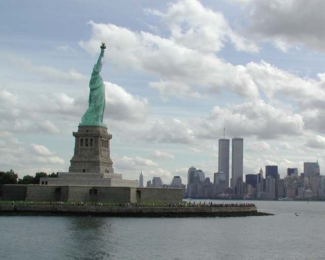 Statue of Liberty with Twin Towers in background