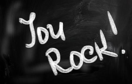 """""""You Rock!"""" on chalkboard"""