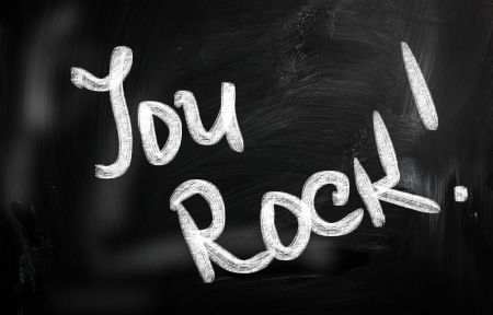"""You Rock!"" on chalkboard"