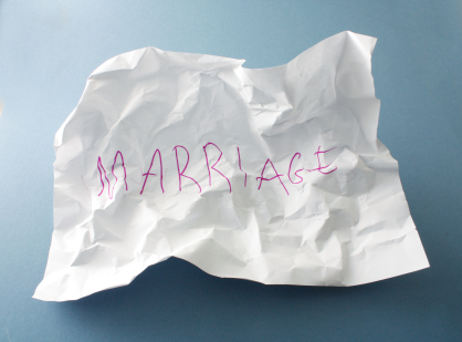 crumpled paper with Marriage written on it