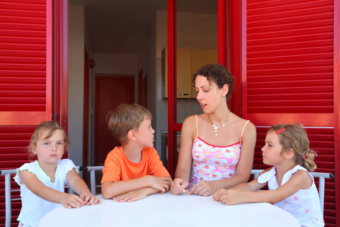 mom with children at table