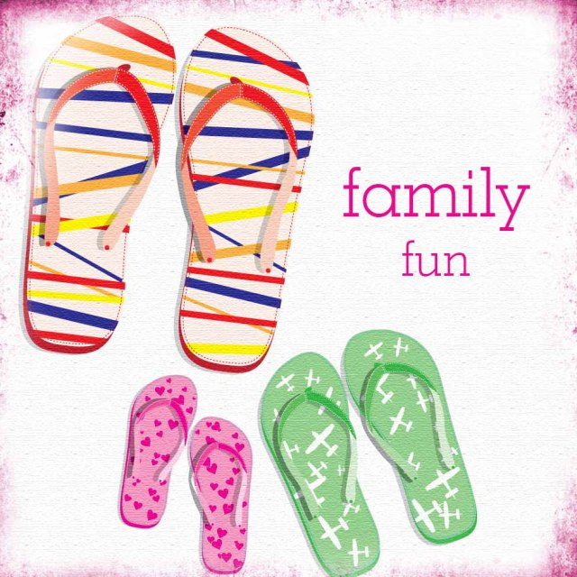 family fun picture with flip flops