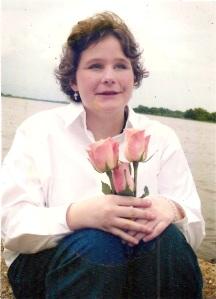 Blind girl holding tulips