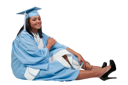 African American graduate in blue gown