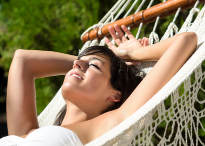 Mom resting in hammock