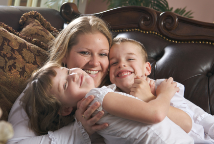 Mother and Children Enjoying a Fun Moment