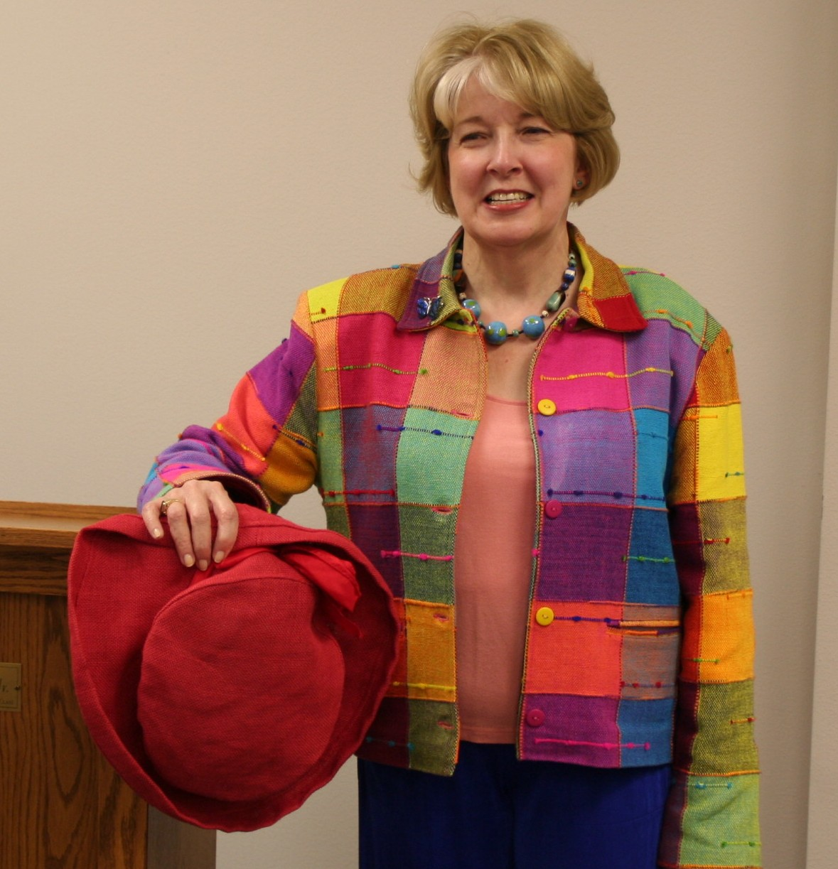 Gail in jacket of many colors