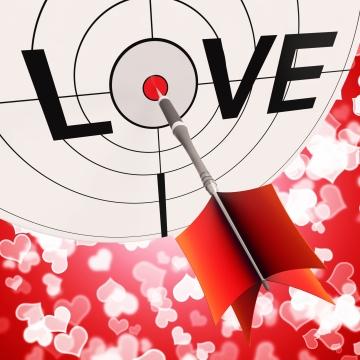 bullseye with dart hitting center of LOVE