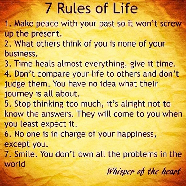 7 rules of life printed on yellow and orange trimmed background