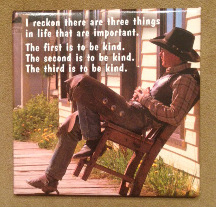 "Cowboy in chair with Henry James ""be kind"" quote"