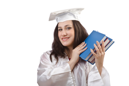 Graduate holding books
