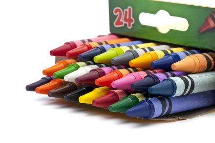 crayons on a box