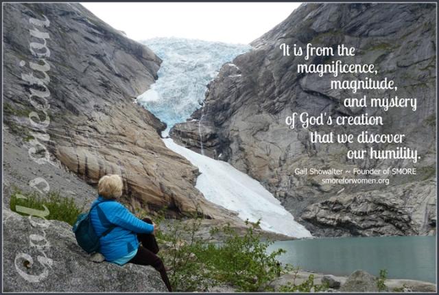 Gail looking at glacier