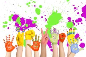 children's hands, paint splatters