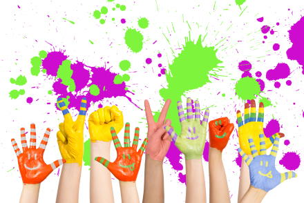 children's hands, paint splatters