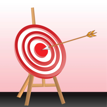 arrow in red dart board