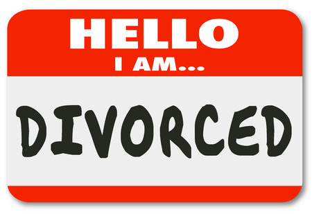 46365878 - hello i am divorced words on a red nametag or sticker introducing you as someone whose marriage is over or ended in legal separation