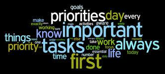 a cloud of words including-priorities, important, first