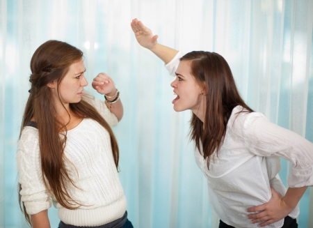 Teenage girls arguing