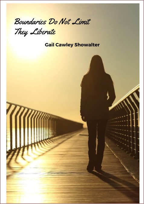 Silhoutte of woman walking across a bridge with this title - Boundaries do not limit they Liberate
