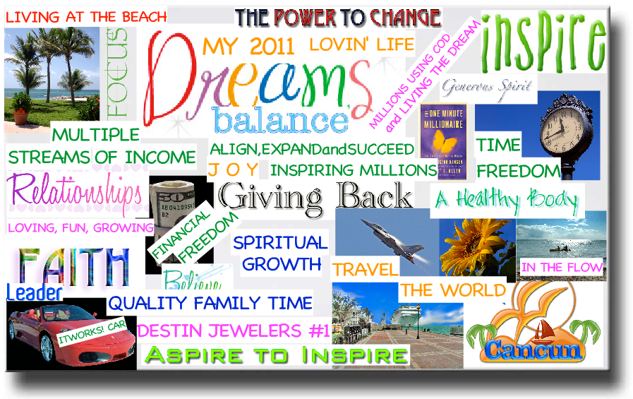 An example of a magazine collage vision board