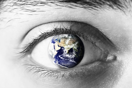 World in the iris of eye