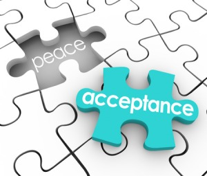 29496883 - acceptance word on a 3d blue puzzle piece and a hole with the word peace to illustrate the inner satisfaction and harmony you feel by admitting or accepting a shortcoming or fault
