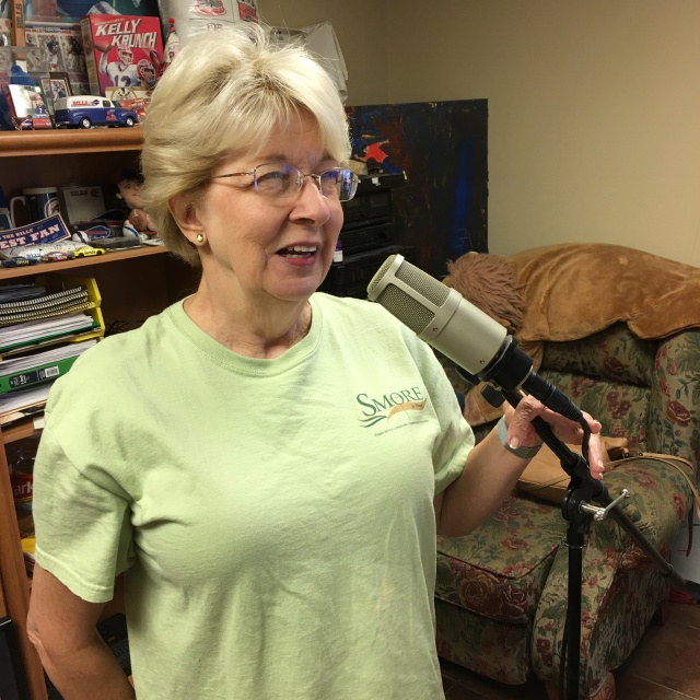 Gail recording at radio station
