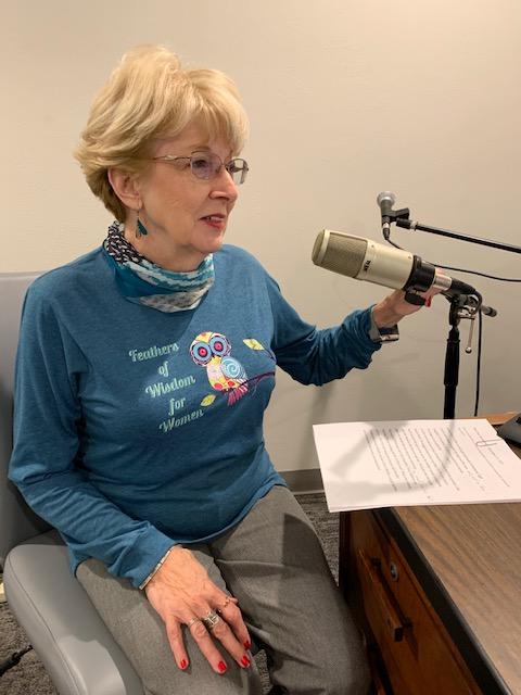 Gail recording at KLBT 88.1 studio