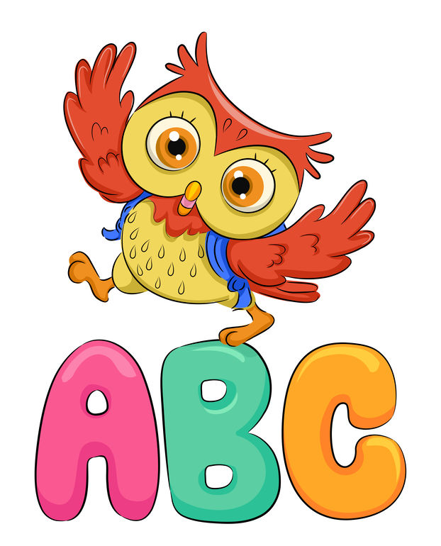 Cute Animal Illustration Featuring an Adorable Owl Walking Over Giant ABCs